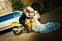 Yellow Motorcycle Wedding Photo Op  Wedding Design by THE BRIDAL PARTY LLC (www.thebridalparty.net)