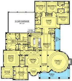 Spacious One Story Castle - 36365TX floor plan - Main Level