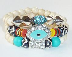 Beaded Bracelet Set with Evil Eye Spikes and by rockstarsz on Etsy, $65.99