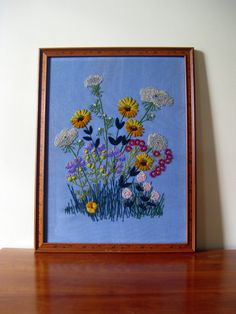 Large Vintage Framed Needlepoint Crewel with by VintageDomestic, $38.00