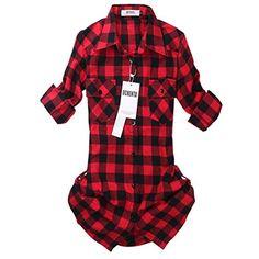 Women's Mid Long Style Roll Up Sleeve Plaid Flannel Shirt C056 Red Black US Size XL (Lable Size 4XL) OCHENTA http://www.amazon.com/dp/B00P269LBG/ref=cm_sw_r_pi_dp_CyZiwb1Q02PRV