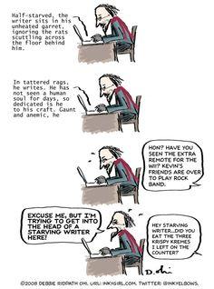 Comic: Starving Writer, SortOf - Inkygirl: Guide For Kidlit/YA Writers & Artists - via @Debbie Ohi