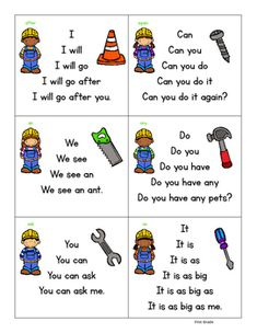 """I've got a new kit in my TPT store called """"Fluency Builders """". These are Dolch sight word sentences that are made into fluency p. Phonics Reading, Kindergarten Reading, Preschool Learning, Kids Reading, Kindergarten Worksheets, Teaching, Guided Reading, Sight Word Sentences, Dolch Sight Words"""