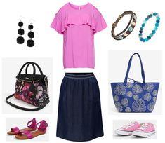 rifľová sukňa pre moletky, midi sukňa pre moletky, letné oblečenie pre moletky, letné oblečenie pre plnoštíhle Polyvore, Fashion, Moda, Fashion Styles, Fasion