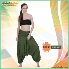 Bring out your bohemian style, as you slip into these comfy yet trendy harem pants.