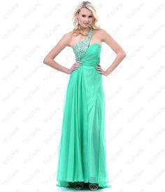 Green Chiffon & Rhinestone One Shoulder Prom Dress - Vuhera.com