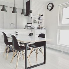 Dining Chairs, Dining Table, Blackpink Jisoo, White Wood, Office Desk, Living Room, Simple, House, Furniture