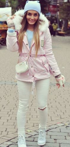 Styleev Pastel Pink Hooded Parka Fall Streestyle Inspo