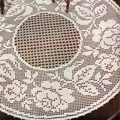Filet Crochet Tablecloth Patterns Round | Round Rose Filet Crochet Centerpiece Doily Pattern