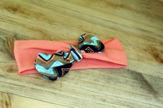 Items similar to Toddler Tie- Knot Headband // Chevron and Coral Tie- Knot // Two- Toned Tie-Knot Headband// Hair Accessories // Headband on Etsy Toddler Ties, Toddler Headbands, Coral Tie, Knot Headband, Tie Knots, Headband Hairstyles, Chevron, Cufflinks, Hair Accessories