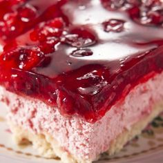 A Delicious recipe for strawberry glazed cheesecake squares.