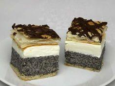 Makový krémeš • Recept | svetvomne.sk Hungarian Desserts, Hungarian Recipes, Russian Recipes, Low Carb Desserts, No Bake Desserts, Dessert Recipes, Cake Bars, Salty Snacks, Sweets Cake
