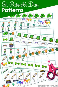 Practice AB, AABB, and ABC patterns and create your own with these cute printable St. Simply cut and paste, great for preschoolers and kindergarteners. (Day 6 of the 7 Days of St. Patrick's Day Printables for Kids series. Fun Activities For Preschoolers, Fine Motor Activities For Kids, Printable Activities For Kids, Number Activities, Art Activities, Patterning Kindergarten, Kindergarten Activities, Preschool Education, Free Preschool