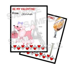 Pink Poodle Paris Valentine Cards holds lollipop by myhtmdesigns, $8.99