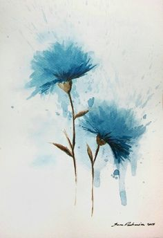 Hey, I found this really awesome Etsy listing at https://www.etsy.com/listing/502132228/blue-flowers-original-watercolor