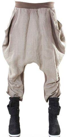 Draped, Low Crotch, Baggy Linen Trousers. And pockets too! Great style and comfort for Burning Man.