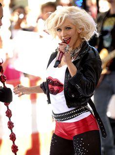 Christina Aguilera in red short disco jeans | Bitter Sin