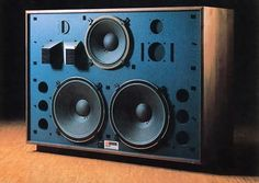 "The enormous JBL 4350 studio reference monitor was a 4-way design: dual 15-inch bass reflex woofers, 12-inch bass reflex mid-woofer, horn with acoustic lens midrange and the famous ""glass prism"" tweeter. An ultimate listening experience."