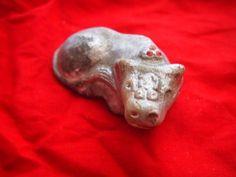 古い土人形 牛 丑 額に大黒 宝珠 郷土玩具 縁起物