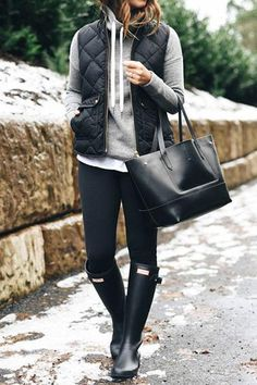 Vest Outfits For Women, Casual Winter Outfits, Casual Fall Outfits, Winter Fashion Outfits, Autumn Winter Fashion, Cute Outfits, Clothes For Women, Fall Fashion, Rainy Day Outfits