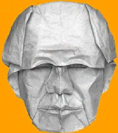 Check out this origami face using wet folding - by Yoshizawa. Wow!