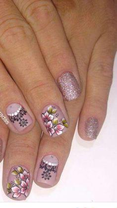 Toe Nail Art, Easy Nail Art, Acrylic Nails, Flower Nail Designs, Nail Art Designs, Nails 2018, Get Nails, Flower Nails, Pretty Hairstyles
