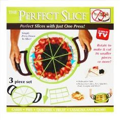 The Perfect Slice - Pie/Cake Slicer.I like how this one has handles. Cake Slicer, Pie Cake, Kitchen Gadgets, Quiches, Baking, Fruit, Lasagna, Cakes, Tv