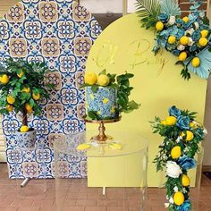 Baby Shower Mum, Baby Shower Themes, Italian Bridal Showers, Lemon Party, Backdrops For Parties, Deco Table, Event Decor, Creations, Italy Party Theme