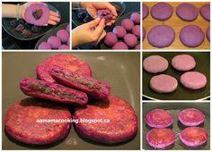 AA mama: 紫芯番薯豆沙煎餅 Purple Sweet Potato Pancake with Red Bean Paste