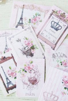 Shabby Chic mini French cards -  Pink Paris themed notecards - embellishments
