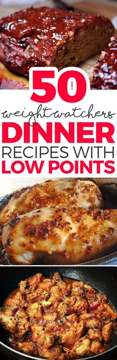 50 Weight Watchers Dinner Recipes with Low Points(Low Carb Meatloaf Healthy Dinners) Plats Weight Watchers, Weight Watchers Diet, Weight Watcher Dinners, Weight Loss Meals, Weigh Watchers, Weight Watchers Meatloaf, Weight Watchers Points Plus, Weight Watchers Chicken, Ww Recipes