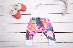 FLORAL baby leggings, trendy BABY harem pants, cloth diaper pants, baby shower…