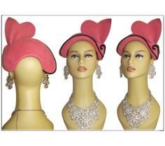Vintage 1940s Hat  . Pink . Velour . Steampunk  . by vintagediva60