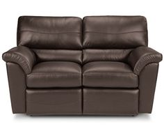 Reese La-Z-Time® Full Reclining Loveseat by La-Z-Boy dark walnut leather