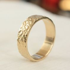 Hammered Gold Wedding Ring Micro Texture 14k Yellow Band 6mm Mens Eco Friendly Recycled
