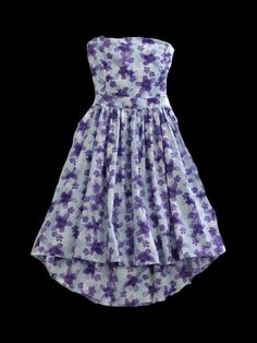 Tin Haul® Violet Floral Print Cotton Strapless Cowgirl Dress