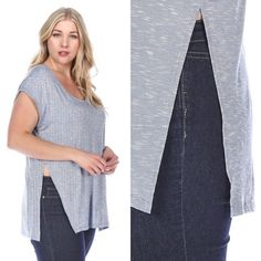 🎉HP🎉 Plus Size Marled Blue Short Sleeve Tee New with tags. Plus size marled melange short sleeve top in blue with hints of white. Very soft and lightweight. Has small side slits. Available in size 1X, 2X, and 3X.                                                       🌸96% rayon, 4% spandex.                                             ❌SORRY, NO TRADES.                                               🎉EVERYTHING PLUS SIZE HOST PICK🎉 Boutique Tops Tees - Short Sleeve