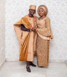 """No 1 Yoruba Wedding Page on Instagram: """"Beautiful couple @deytoun and Kola !!! #TKHOLES18 ❤️❤️❤️ Make up by @oshewabeauty Aso oke by @bimmms24 Event beautifully planned by…"""""""