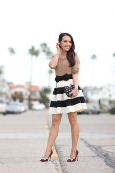 StylishPetite.com | Modcloth Stripe It Lucky Skirt and Polka Dot Jacquard Clutch (plus sale alerts)