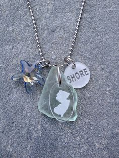 New Jersey SHORE Natural Blue Sea Glass Necklace with Starfish on Etsy, $60.00