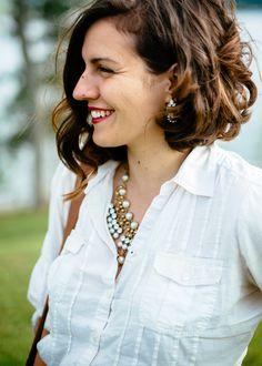 hair cut, asymmetrical bob, curly wavy hair - top: Converse, necklace&earrings: Anthropologie, sk...