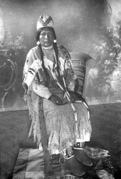 Nez Perce woman in ceremonial dress poses for formal portrait, ca. 1890 :: American Indians of the Pacific Northwest -- Image Portion