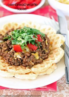 Cornbread Waffle Tacos -- I will definitely be trying this out with some TVP taco meat!