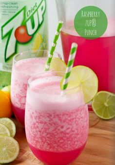 7UP Punch. 7UP®, raspberry sherbet, lime juice, & lemon juice. YUM.