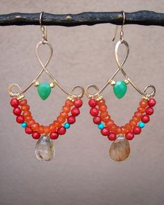 W a r r i o r . P r i n c e s s - RESERVED FOR FABIOLA- 14k gold filled - wire wrapped - chandelier earrings - carnelian - coral - turquoise