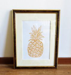 Poster yellow pineapple perfect for kids or a by EssiDesign