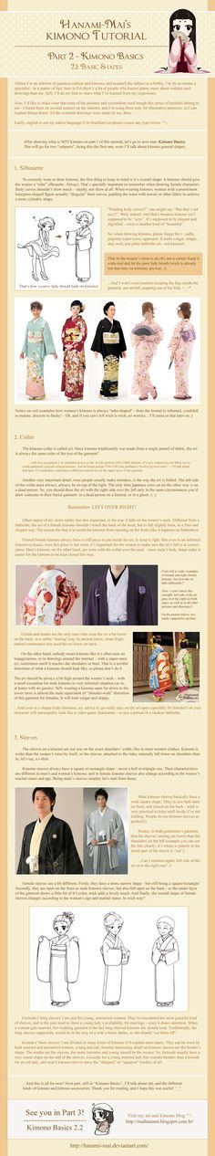 Kimono Tutorial - Part 02 by Hanami-Mai.deviantart.com on @deviantART - Second in a series of tutorials/infographics about kimono. This one focuses on the basic shape/silhouette for kimono. There's an emphasis on understated elegance (ex. in how it disguises a woman's figure) and this also explains why exactly the collar (eri) is worn left over right. I have to explain this many, many times at the museum....