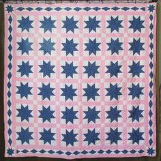Antique c1880s Indigo Blue Gingham Pink STARS Summer QUILT Cottage Farmstyle