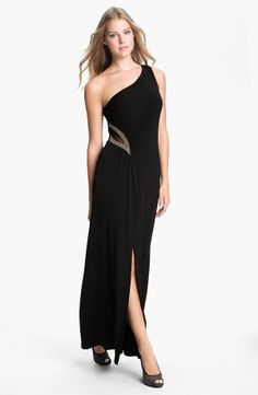 One Shoulder Mesh Inset Jersey Gown