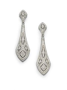 Art Deco Crystal Drop Earrings $65.64 AT vintagedancer.com